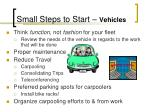 small steps to start vehicles