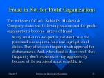 fraud in not for profit organizations