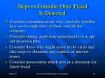 steps to consider once fraud is detected21