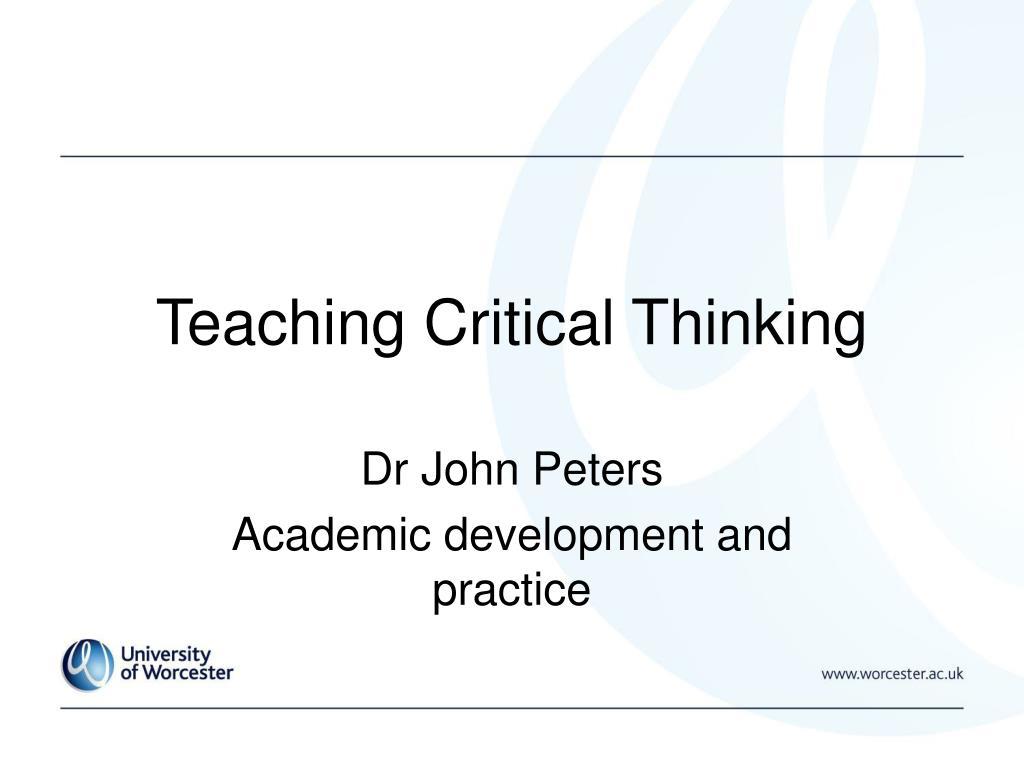 teaching critical thinking l.