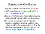 formulas for oscillations