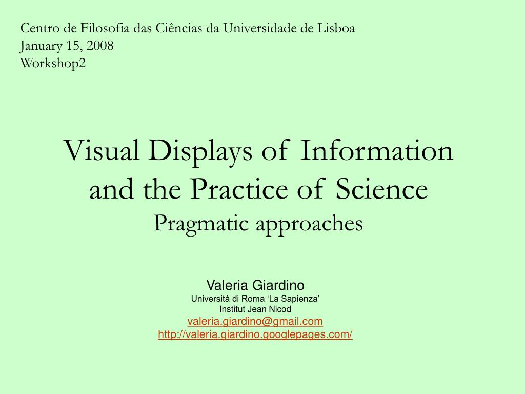 visual displays of information and the practice of science pragmatic approaches l.