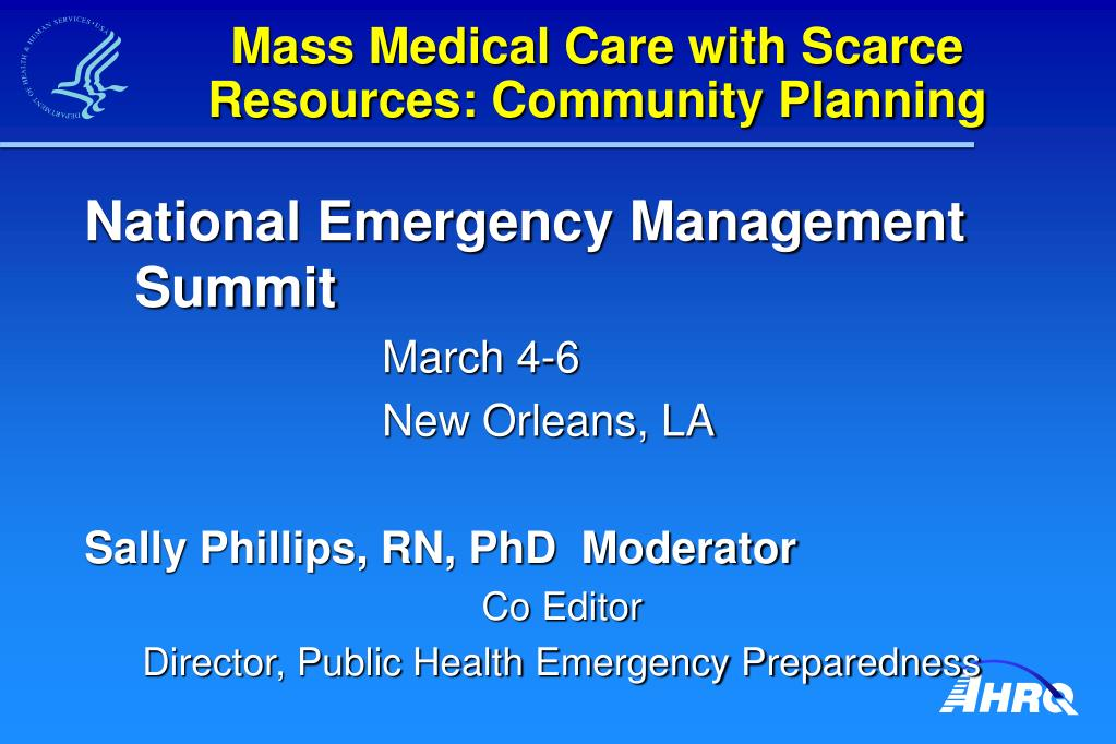mass medical care with scarce resources community planning l.