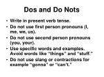 dos and do nots