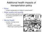 additional health impacts of transportation policy