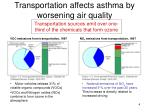 transportation affects asthma by worsening air quality