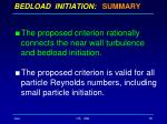 bedload initiation summary