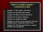 must familiarize content list9