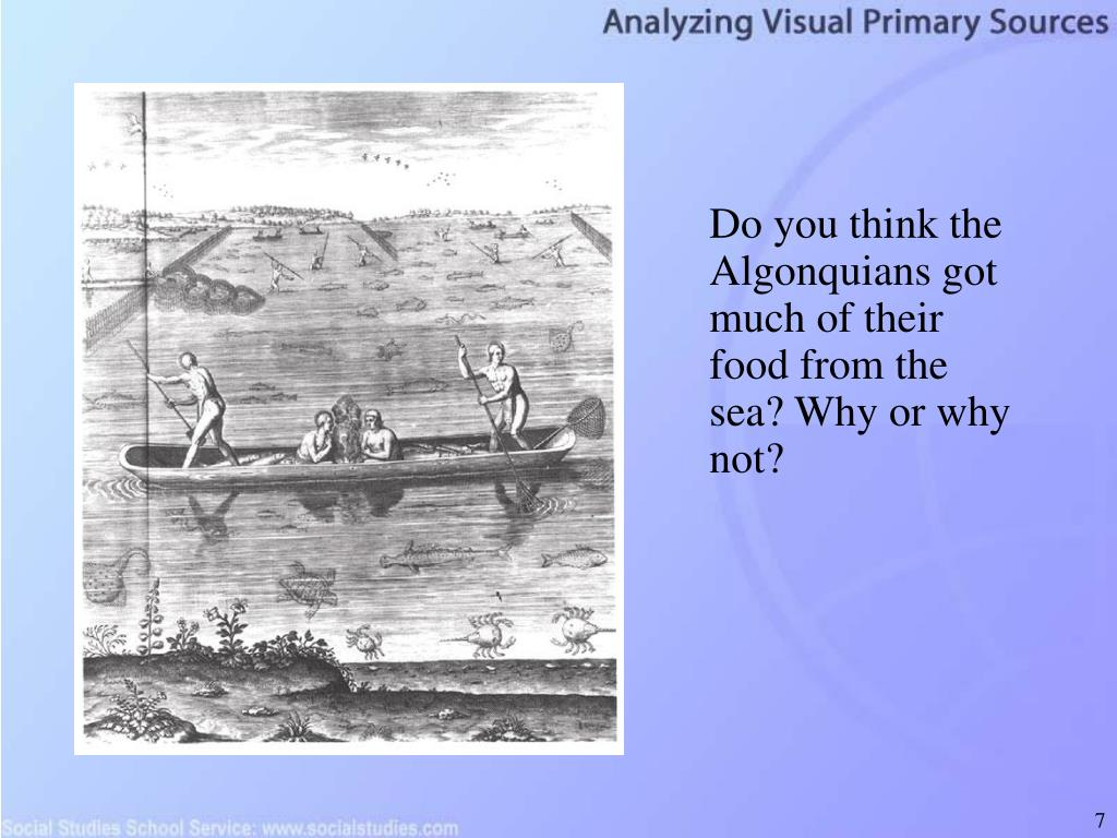 Do you think the Algonquians got much of their food from the sea? Why or why not?