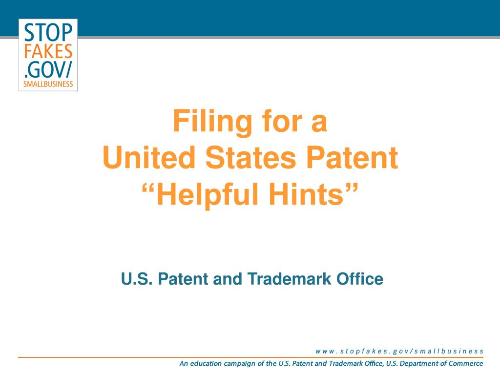filing for a united states patent helpful hints l.