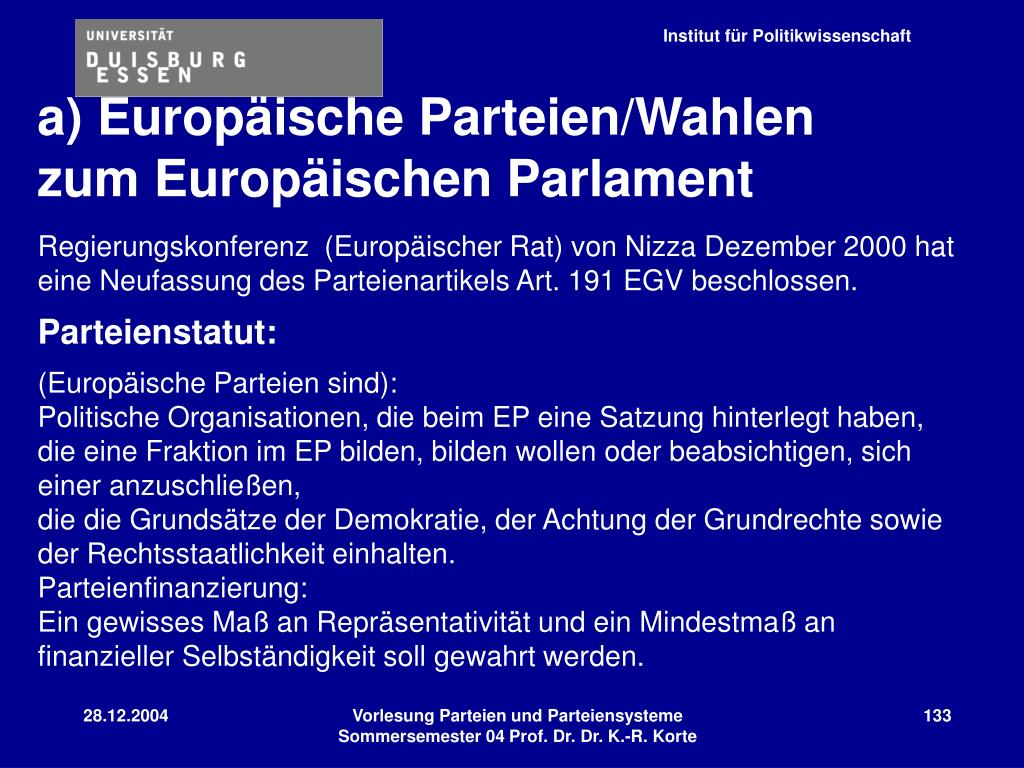 a) Europäische Parteien/Wahlen zum Europäischen Parlament