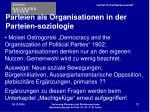 parteien als organisationen in der parteien soziologie