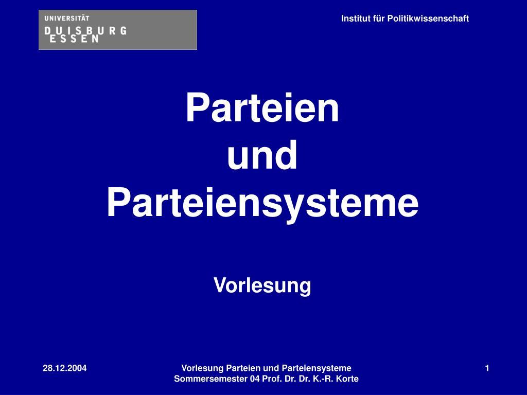 parteien und parteiensysteme vorlesung l.
