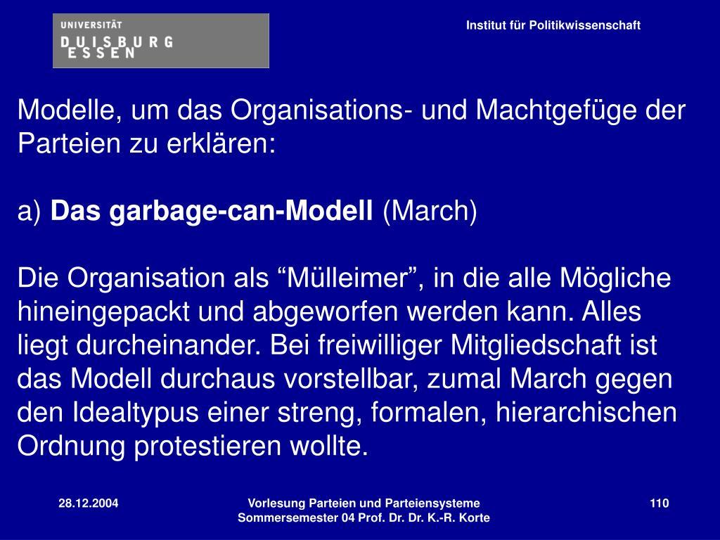 Modelle, um das Organisations- und Machtgefüge der Parteien zu erklären: