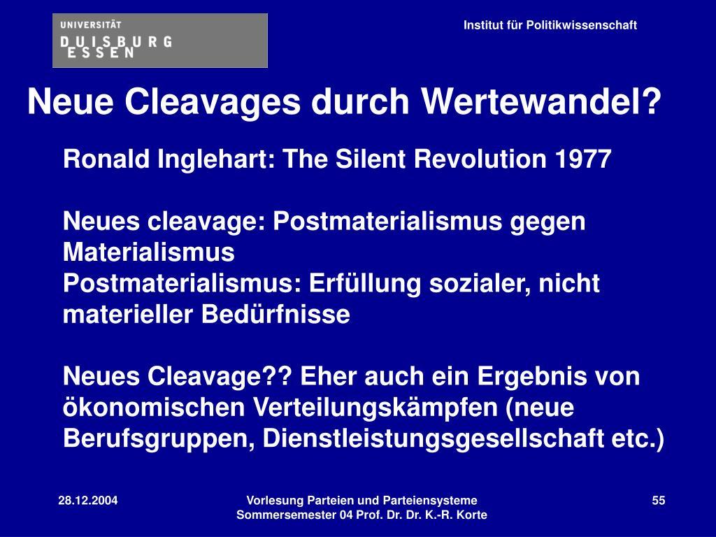 Neue Cleavages durch Wertewandel?