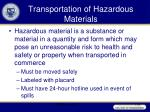 transportation of hazardous materials