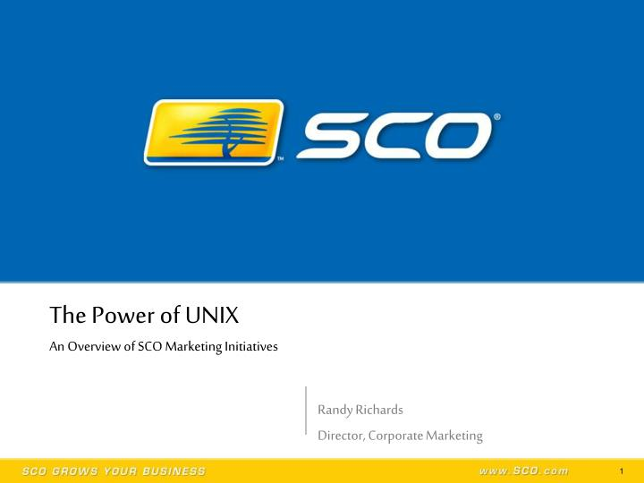 the power of unix an overview of sco marketing initiatives n.