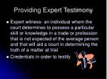 providing expert testimony