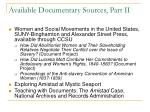 available documentary sources part ii