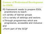 context of professional development for esol