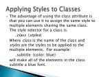 applying styles to classes