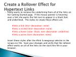 create a rollover effect for hypertext links