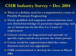 csir industry survey dec 2004