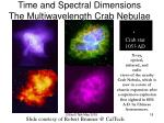 time and spectral dimensions the multiwavelength crab nebulae