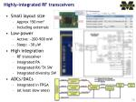 highly integrated rf transceivers