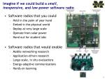 imagine if we could build a small inexpensive and low power software radio