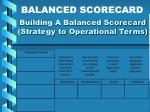 building a balanced scorecard strategy to operational terms