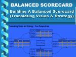 building a balanced scorecard translating vision strategy