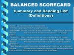 summary and reading list definitions