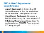 emo 1 hvac replacement considerations