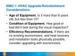 emo 1 hvac upgrade refurbishment considerations