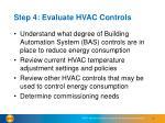 step 4 evaluate hvac controls