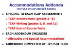 accommodations addenda for use by iep and 504 teams