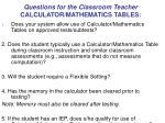 questions for the classroom teacher calculator mathematics tables