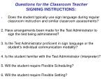 questions for the classroom teacher signing instructions