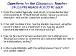 questions for the classroom teacher students reads aloud to self