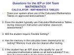 questions for the iep or 504 team mathematics calculator mathematics tables