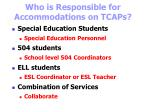 who is responsible for accommodations on tcaps