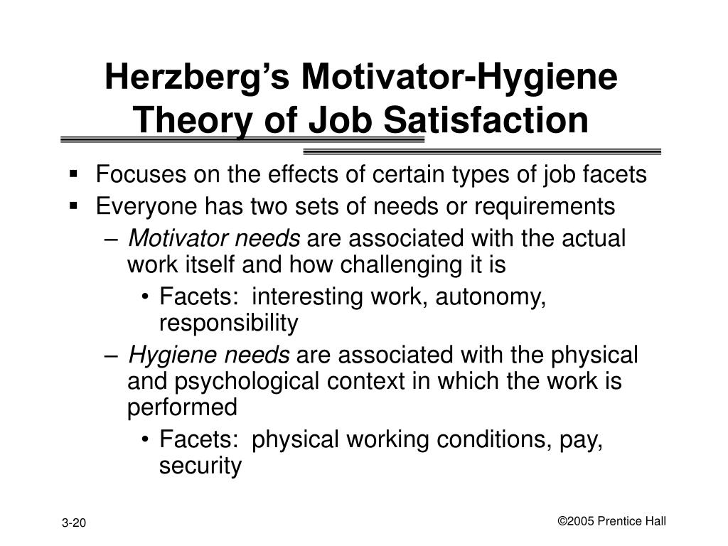 Herzberg's Motivator-Hygiene Theory of Job Satisfaction