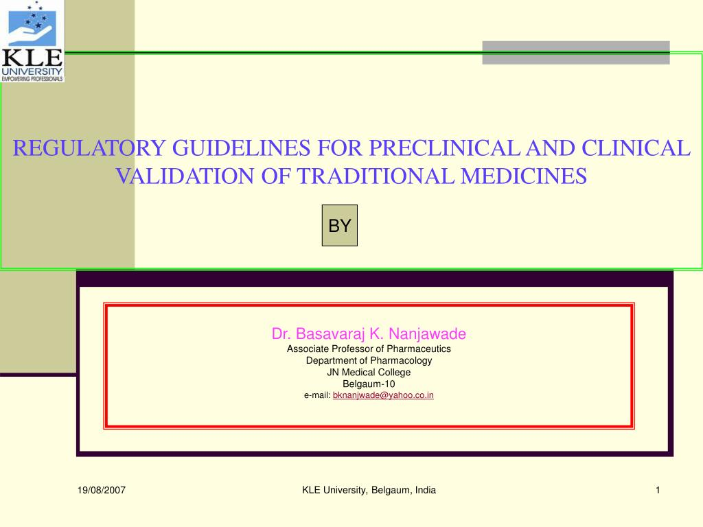 regulatory guidelines for preclinical and clinical validation of traditional medicines l.