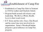 establishment of camp fire
