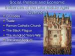 social political and economic influences of the late middle ages overview
