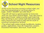 school night resources