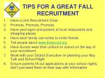 tips for a great fall recruitment
