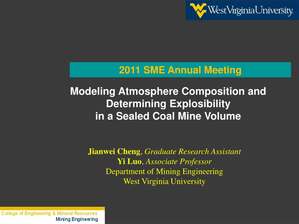 modeling atmosphere composition and determining explosibility in a sealed coal mine volume l.