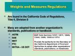 weights and measures regulations